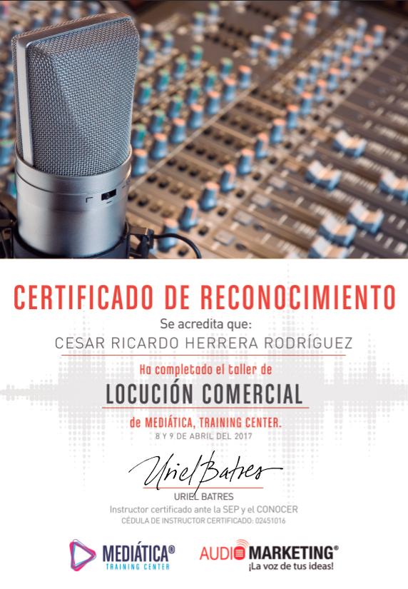 Certificado locutor